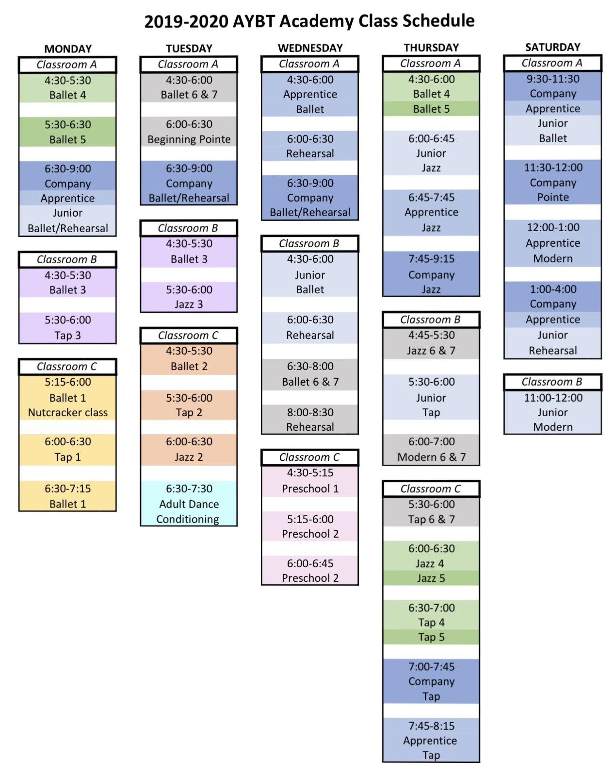 2019 2020 academy schedule